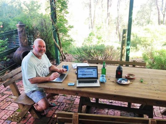 Working from under the pergola